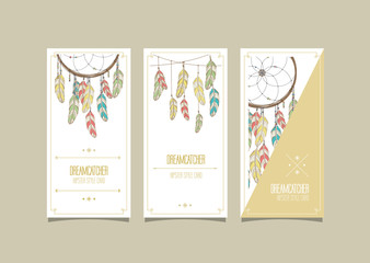 Dream catcher hipster set of cards. Vector illustration.