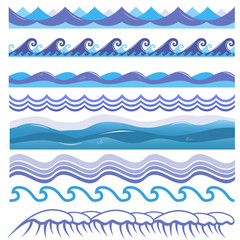 Vector illustration of ocean, sea waves, surfs and splashes