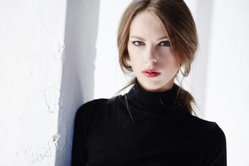 Portrait of luxury brunette woman.