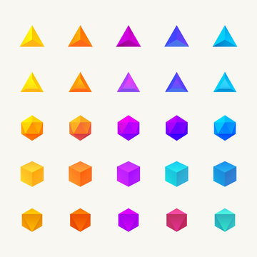 Polygon 3d objects set. Vector icons