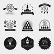 Vector brain logo set and creativity badges