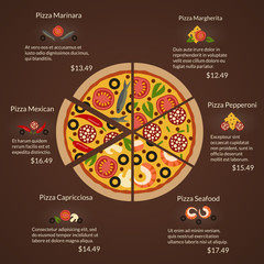 Round pizza with different sort slices and ingredients in flat