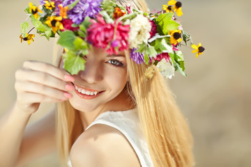 beautiful woman in flowers