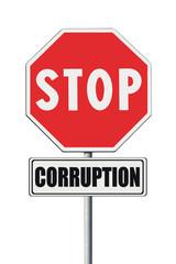 Stop corruption concept. Stop corruption written on signpost
