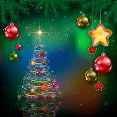 Celebration greeting with Christmas tree and snowflakes