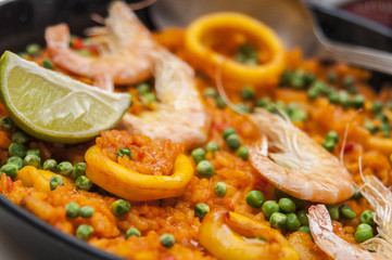 Authentic spanish paella served in a restaurant.