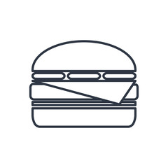 Vector burger outline icon. Food symbol