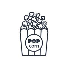Vector popcorn outline icon. Food symbol