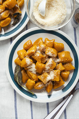 Italian dumplings. squash pumpkin gnocchi. healthy vegetarian pu