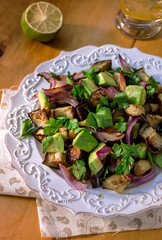 Roasted Eggplant Salad with Avocado and Red Onion