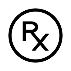 Simple Rx icon, symbol of prescription