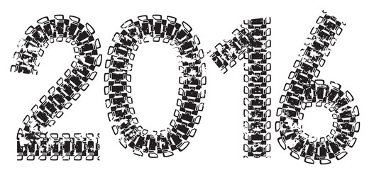 2016 inscription made from tank and tractor tracks, isolated on white