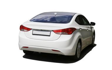 white car isolated on white
