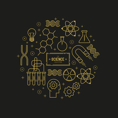 Science Vector Icon Set. A collection of gold science themed line icons including a atom, chemistry symbols and equipment. Layered Vector illustration.