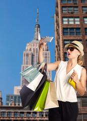 Blond tourist girl selfie photo in New York