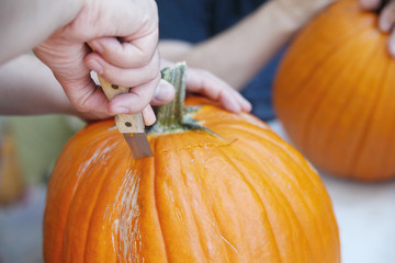 A man cuts a lid from a pumpkin as he prepares a jack o' lantern.