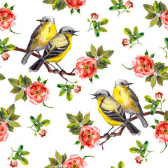 Vintage seamless repeated backdrop with birds in roses