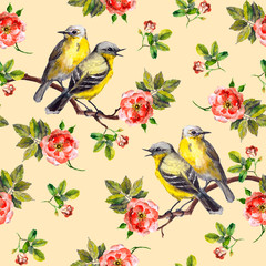 Vintage spring fabric design with retro song birds in wild rose