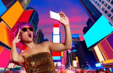 Party girl pink wig selfie photo Times Square NYC
