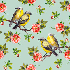 Retro design for fabric pattern with birds and roses