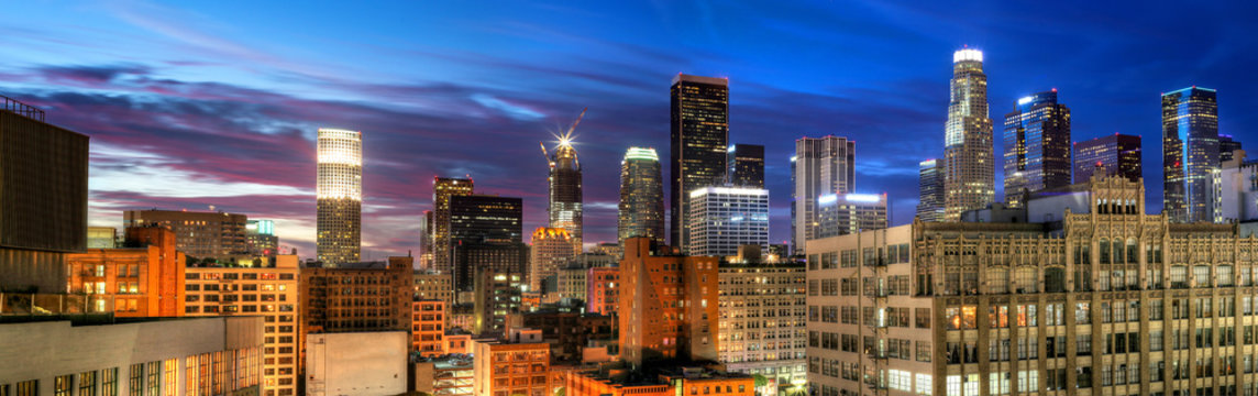 Historic Core and Financial District of Downtown Los Angeles.  All building logos removed.