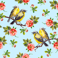 Seamless floral pattern with rose flowers and birds