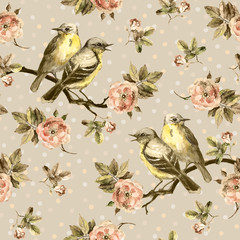 Repeated seamless swatch in sepia color. Birds, roses in peas