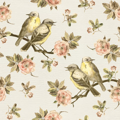 Grunge seamless backdrop with retro floral design