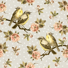 Vintage seamless background with retro birds in the garden