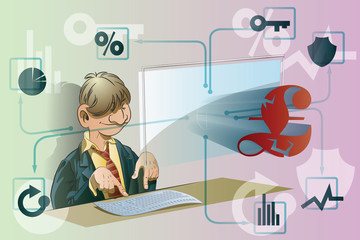 Vector stock illustration. Funny businessman working at a comput