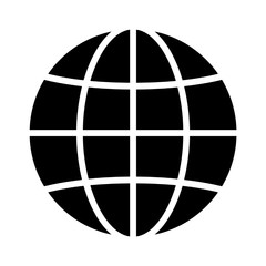 International globe flat icon for apps and websites