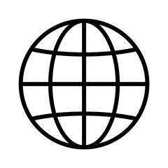 International globe line art icon for apps and websites