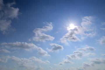 Nice blue sky with sun beam with cloudy