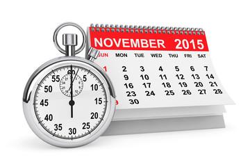 2015 November calendar with stopwatch
