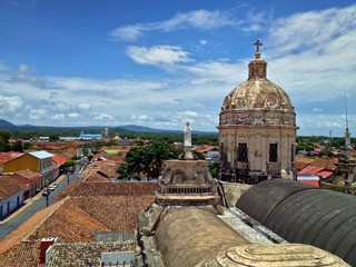 Skyline View of Historic Colonial City of Granada, Nicaragua, Central America