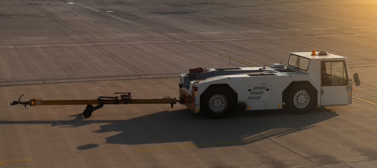 TUG Pushback tractor in the airport.