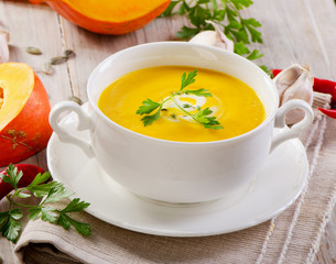 Bowl of spicy pumpkin soup.