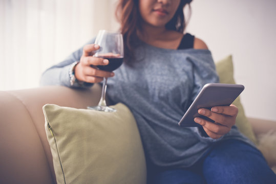 Evening with wine and smartphone
