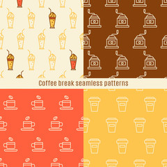 Seamless pattern with linear coffee icons.