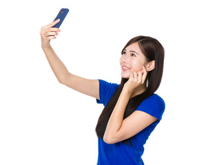 Asian young woman take phone by using cellphone
