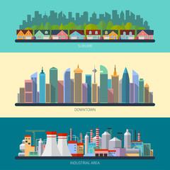 Set of flat design urban landscape illustrations