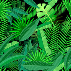 Leaves of tropical palm tree. Seamless pattern on dark