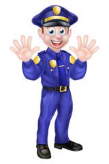 Cartoon Policeman Waving