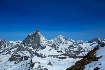 A view of the well-known Matterhorn taken from Klein Matterhorn. Among skiers, the Klein Matterhorn is also known as Matterhorn Glacier Paradise.