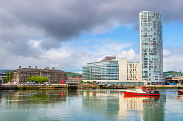 View of Belfast with the river Lagan - United Kingdom