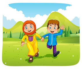 Muslim boy and girl holding hands