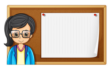 Woman with glasses and board