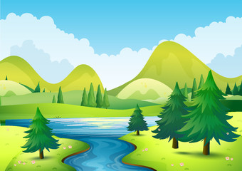 Nature scene with river and hills