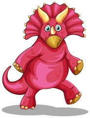 Red dinosaur with sharp horns