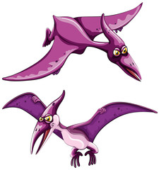 Purple pterosaur flying in the sky